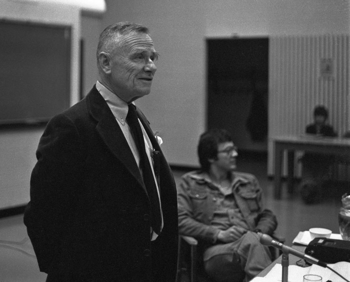 Christopher Isherwood at the University of Toronto, Feb. 1976.